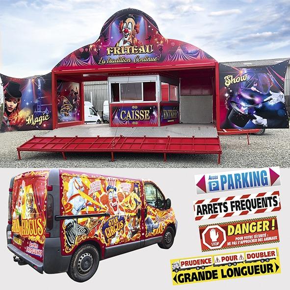 marquages supports divers cirque autocollants vehicules cirque