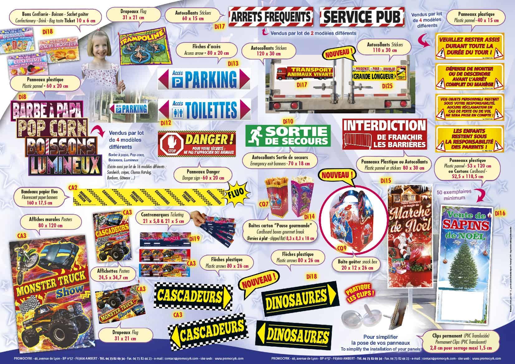 produits standards guignol autocollants et panneaux signaletique promocyrk
